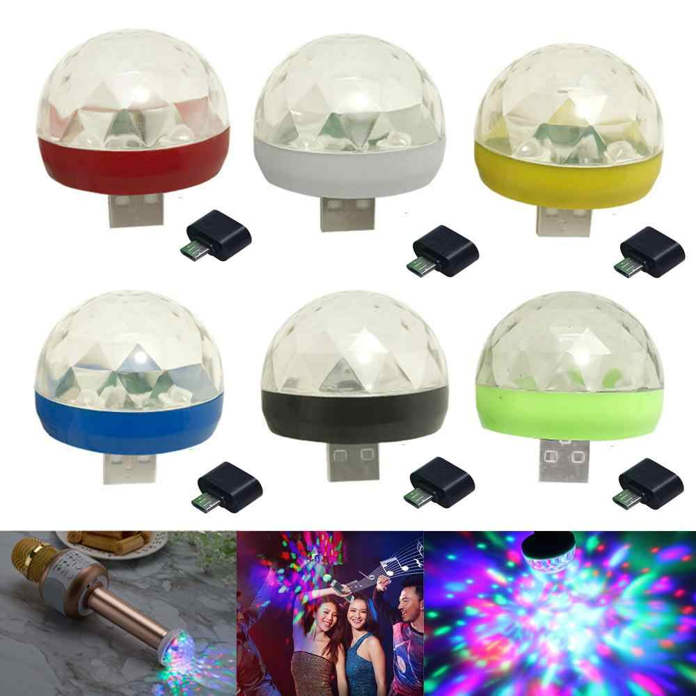 Mini USB Bunte LED Disco Lichter Tragbare Kristall Magic Ball Bühne Lampe mit Adapter für Android Telefon Partei Licht