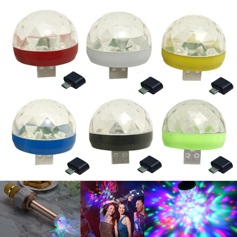 Mini USB Colorful LED Disco Lights Portable Crystal Magic Ball Stage Lamp With Adapter For Android Phone Party Light