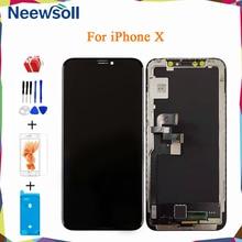 Amoled oled para iphone x display lcd tela para iphone x tela de toque digitador assembléia substituição