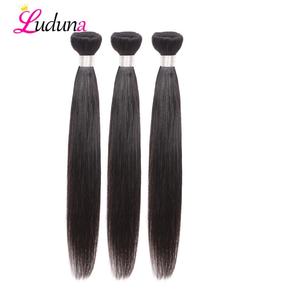 Luduna 3 バンドルストレートヘア 100% 人毛バンドル 100 グラム/ピースペルー髪バンドルレミーヘアエクステンション自然な色  グループ上の ヘアエクステンション & ウィッグ からの 3/4 バンドル の中 1
