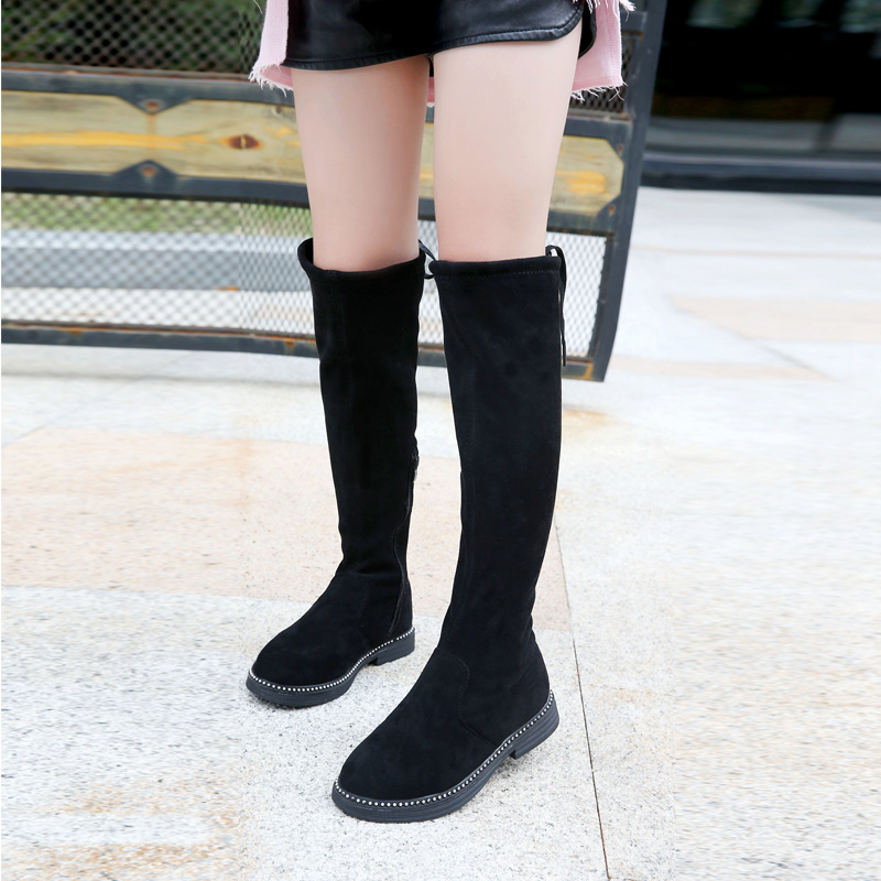 Girls Knee-high Boots Princess Fashion Botas Children Plus Velvet Over Knee Long  Snow Boots Toddler Winter Shoes Buty Zapatos