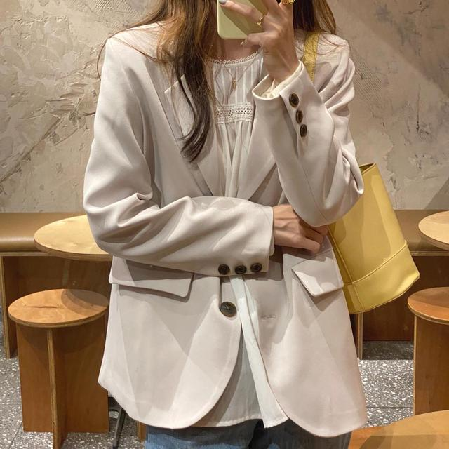 New suits Female Vintage Autumn Office Ladies Notched Collar BLACK Women Blazer Breasted Jacket Casual Pockets Female Suits Coat 3