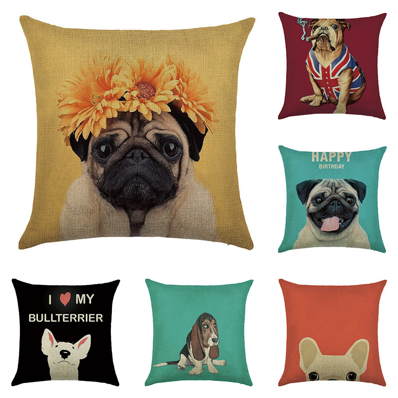 Cute Cartoon Dog Pattern Print Cushion Cover Linen Decorative For Sofa Seat Soft Throw Pillow Case Cover 45x45cm Home Decor