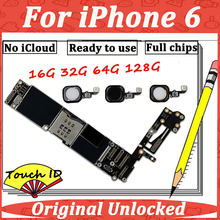 Original Motherboard For iPhone 6 4.7'' 16G 32G 64G 128G Touch ID Mainboard Main Logic Mother Board GSM Unlocked NO iCloud Lock(China)