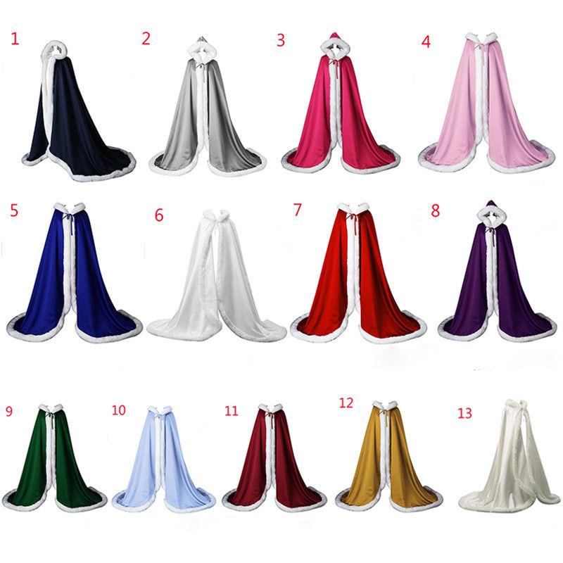 Victorian Bridal Cape Satin Wedding Cloak Hooded With Faux Fur Trim Christmas Cape Handmade Medieval Cloak