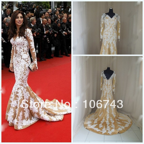Free Shipping 2020 V-Neck Mermaid Lace Long Sleeve Wedding Celebrity Gown Custom Size Evening Dress Mother Of The Bride Dresses