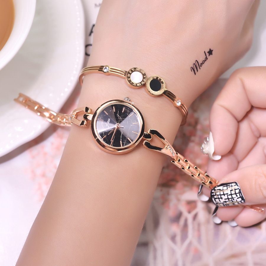 Luxury Golden Stainless Steel Women Fashion Bracelet Watches 2019 Cut Surface Marble Dial Ladies Wristwatches Small Female Watch(China)