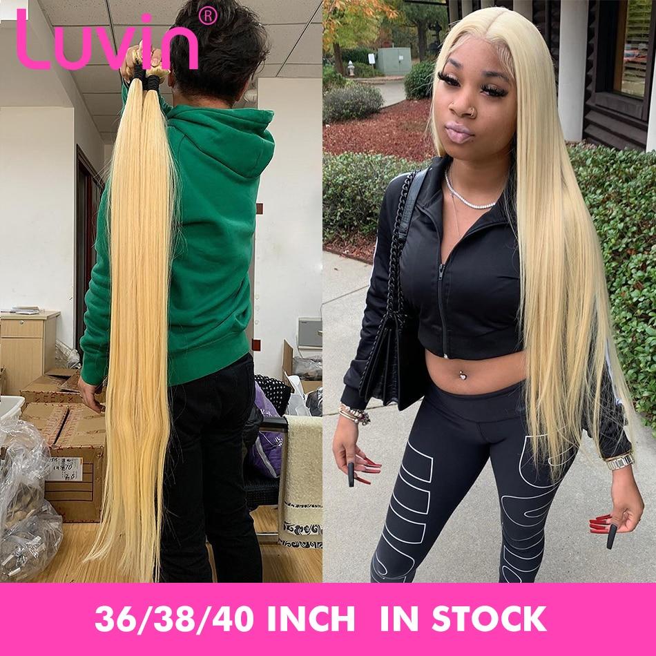 Luvin Straight 8- 28 30 32 34 40 Inch Brazilian Remy Hair 613 Blonde 1 3 4 Bundles Long Human Hair Weave Bundles Free Shipping
