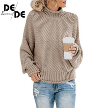 2019 Casual Loose Autumn Winter Turtleneck Sweater Women Oversize Solid Knitted Sweaters Warm Long Sleeve Pullover