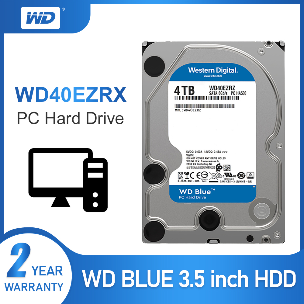 WD Original Blue 4TB Hdd Sata 3.5'' Internal Hard Disk Drive HDD For PC WD40EZRZ Western Digital 4tb Hdd Disco Duro Desktop