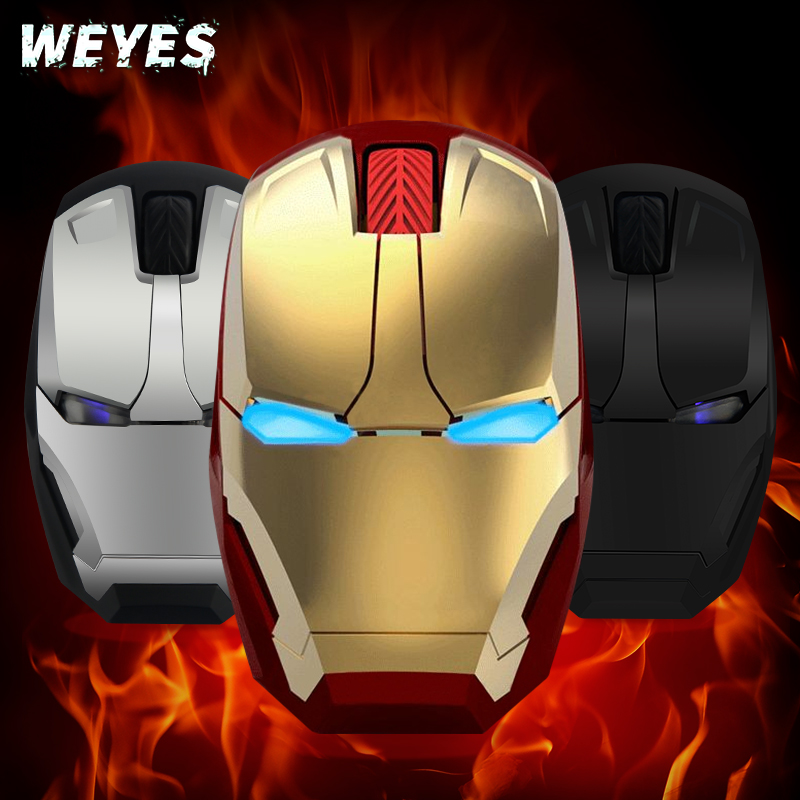WEYES Wireless Mouse For Iron Man Appearance Creative Power Saving Notebook Computer Games Mouse The Coolest Art