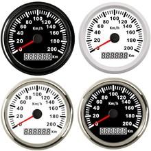 ユニバーサル 85 ミリメートルのgpsスピードメーター毎時 200 キロで 120 キロ/hカースピードメーターゲージトラックマリンボートバックライト 12v 24v bmw e39