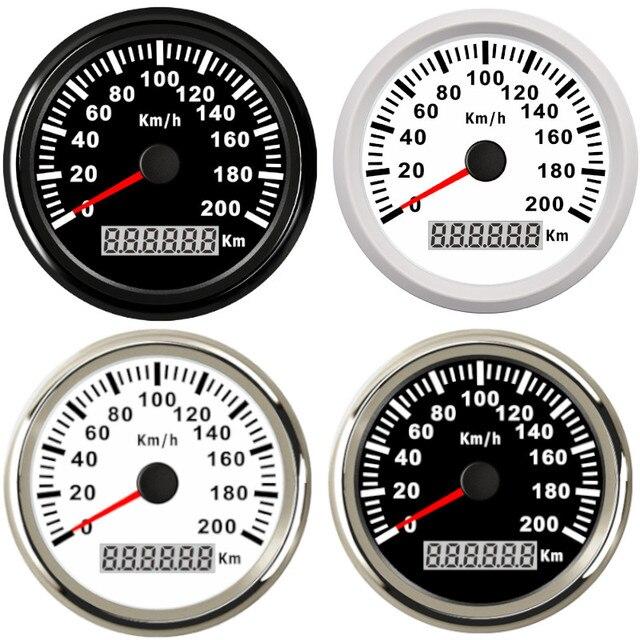 Uniwersalny 85mm prędkościomierz GPS 200 km/h 120 km/h prędkościomierz do samochodu wskaźnik dla ciężarówki łódź morska z podświetleniem 12V 24V dla BMW e39