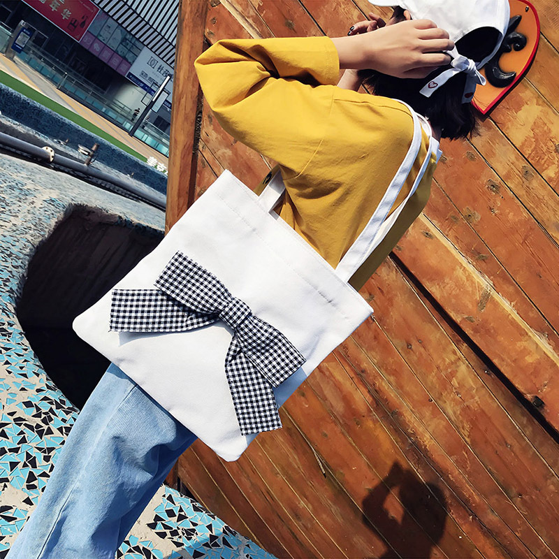 WOMEN'S Bag 2017 New Style Bow Shoulder Cloth Bag College Canvas Bag Shopping Bag
