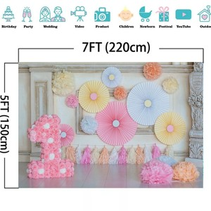 Image 4 - Laeacco Chic Wall Pillar Paper Flowers Umbrella 1st Birthday Scene Photography Backdrops Photo Backgrounds For Photo Studio Prop