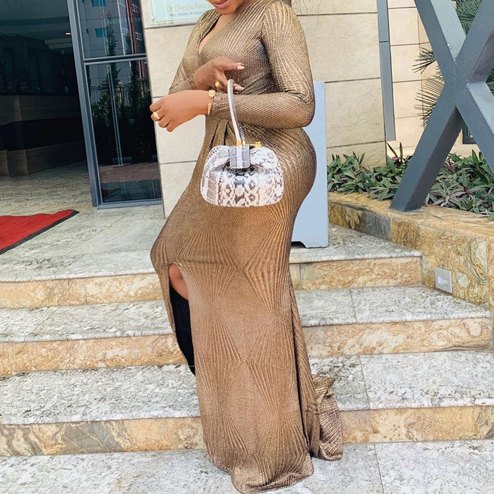 Sexy V-Neck Women Party Long Dress African Plus Size Formal Evening Dress Front Split Long Sleeve vestidos Elegant Prom Dress