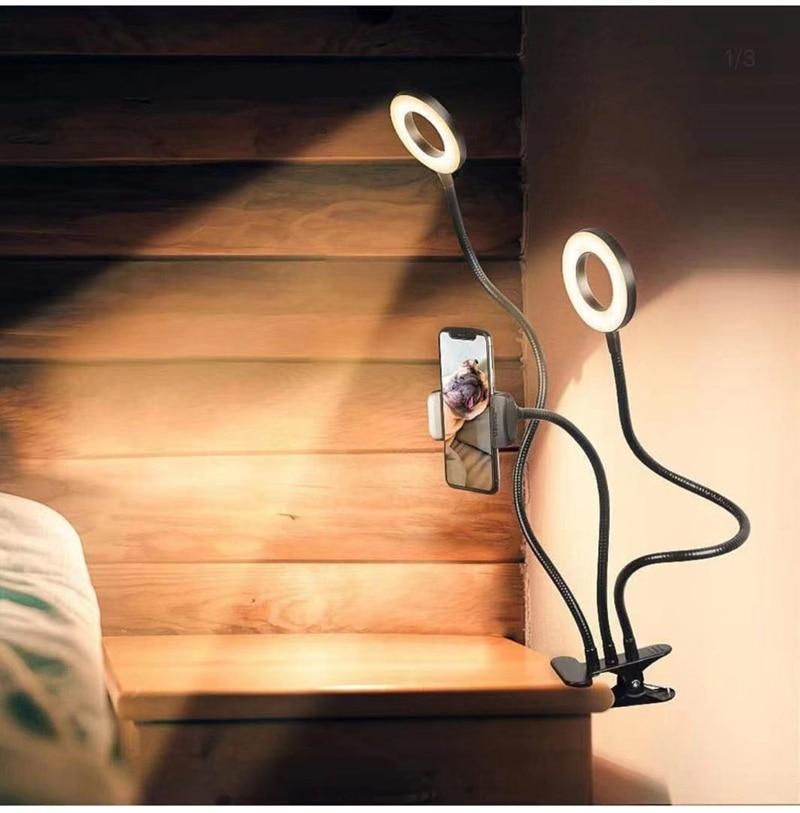 o anel portatil de selfie conduziu a luz do telefone celular movel luz mesa suporte tripes