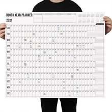 Planificador de año en inglés, calendario de pared diario con pegatinas de marca para oficina, escuela y hogar, 2021 bloques, oferta
