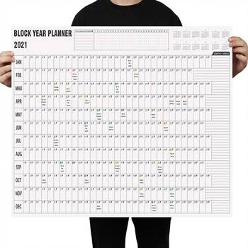 Hot 2021 Block English Year Planner Daily Plan Wall Calendar Schedules календарь with Mark Stickers for Office School Home