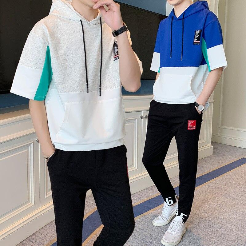 2019 New Style Teenager Spring Summer Short Sleeve T-shirt MEN'S Suit Korean-style Men Handsome Fashion Man Students Summer Wear