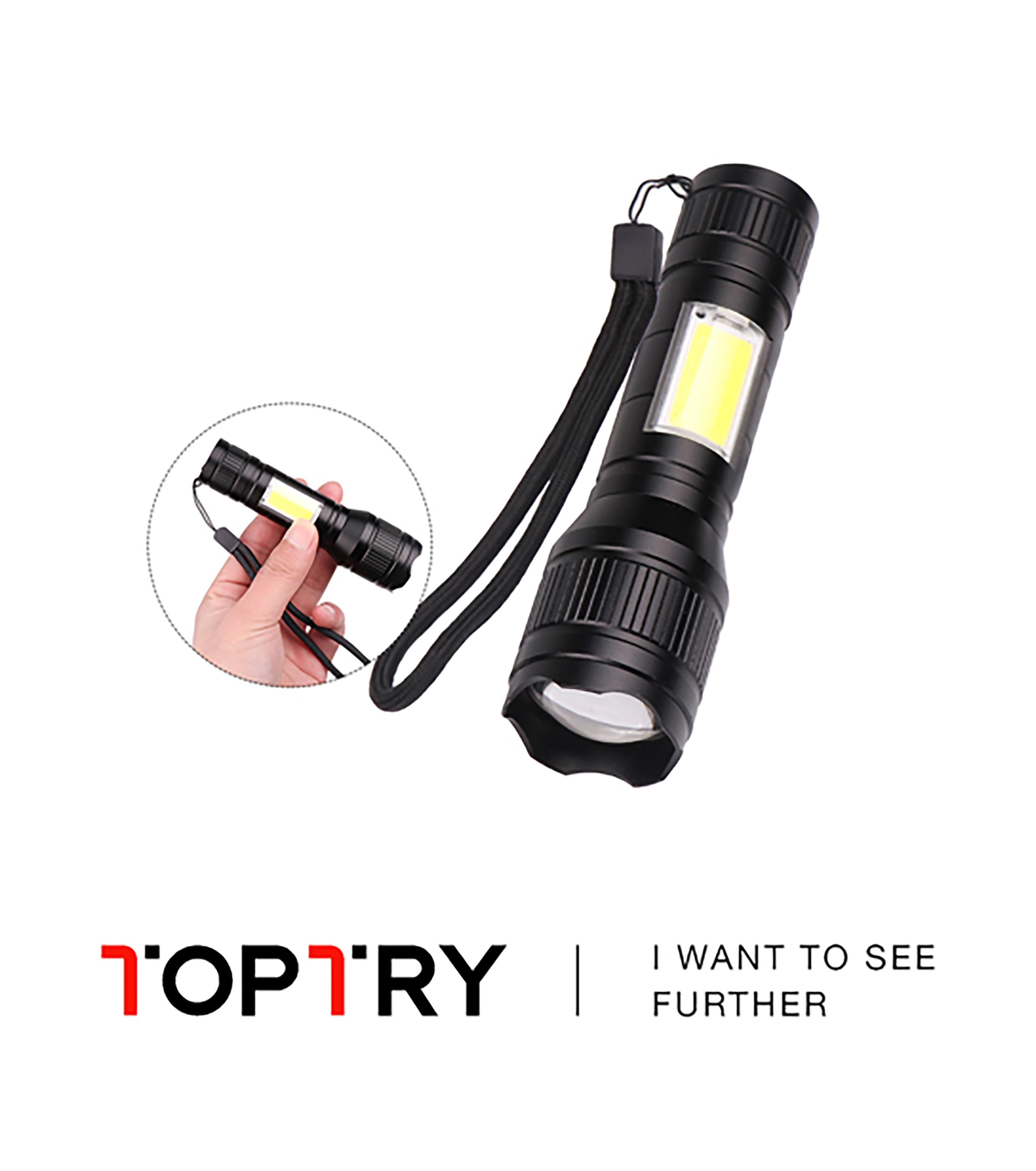 Portable LED Flashlight Q5 +COB Mini Black Waterproof Zoom LED Torch Penlight Use Built-in Battery Lighting Lantern