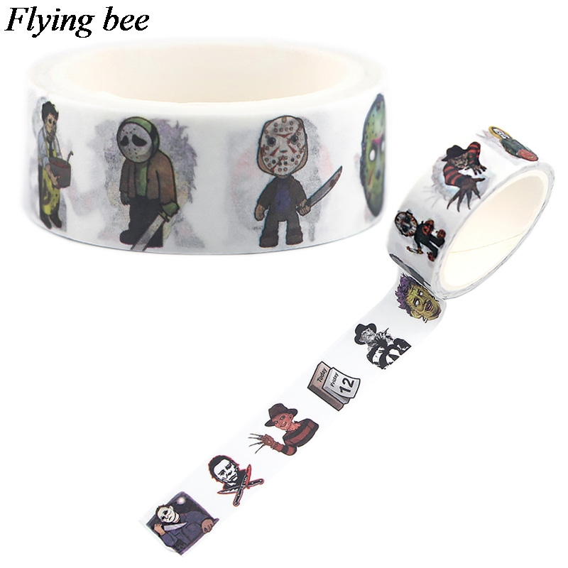 Flyingbee 15mmX5m Paper Washi Tape Horror Killer Adhesive Tape DIY Halloween Scrapbooking Sticker Label Masking Tape X0557