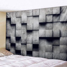3D gray geometric cube Tapestry Wall Hanging Psychedelic  Bohemian Mandala Hippie for Bedroom