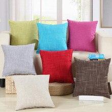 Double côté décoratif jeter taie d'oreiller solide coloré coton lin Simple et élégant housse de coussin pour canapé 45x45cm