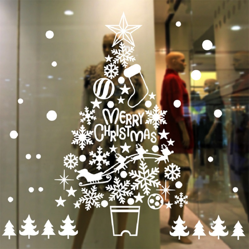 Christmas Tree Snowflake Electrostatic Office Window Sticker Room Christmas Wall Stickers Home Decals Decor New Year Wallpaper