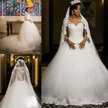 African Ball Gown Lace Wedding Dresses 2020 Vintage Appliques Illusion Long Sleeves Vestido De Noiva(China)