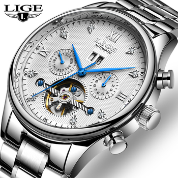 LIGE Fashoin New Mens Watches Top Brand Luxury Tourbillon Automatic Mechanical Watch Men Stainless Steel Waterproof Wrist Watch hot brand ouyawei mens luxury tourbillon auto mechanical wrist watches stainless steel business mens watches relogio masculino