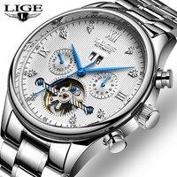 LIGE Fashoin Novo Mens Relógios Top Marca de Luxo Tourbillon Relógio Mecânico Automático Dos Homens de Aço Inoxidável Relógio de Pulso À Prova D' Água|Relógios mecânicos| |  -