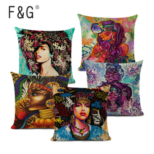 African Girl Decorative Cushion Cover African Graffiti Art Pillow Cover Linen Throw Pillow for Home Decor cover girl spf22