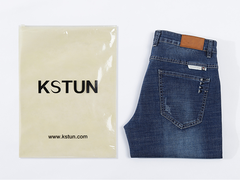 KSTUN Jeans Men Slim Fit Denim Shorts Solid Blue Stretchy Man Jeans Brand 2020 Casual Short Jean