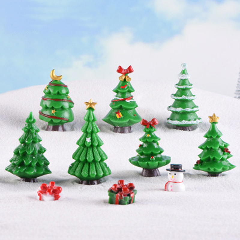 Mini Christmas Tree Snow Frost Small Pine Tree Craft DIY Xmas Party Decoration Ornaments For Home Decor 1PC