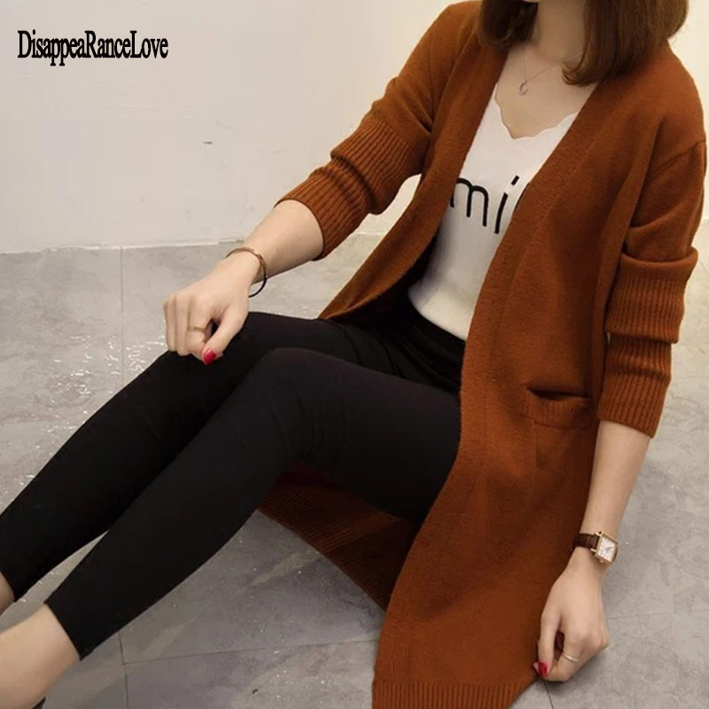Women Knitted Long Sleeve Long Sweater Cardigan For Female Women 2019 Autumn New Overcoat Outwear Coats Women Autumn
