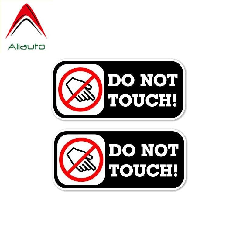 Предупреждающая Автомобильная наклейка Aliauto 2 X, не трогайте Авто Декор, наклейка из ПВХ, покрытие, царапины для Mazda Cx 5 Gti Vw Golf 5 Nissan,11 см * 5 см
