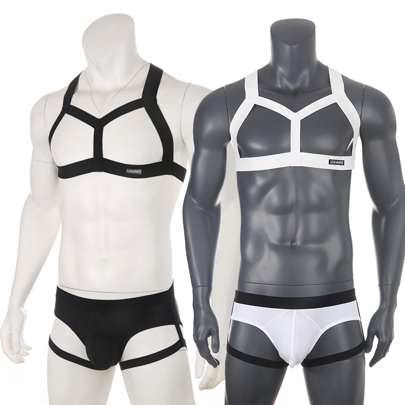 Fetish Men Chest Harness Set Elastic Shoulder Harness Leg Strap Belt Sexy Underwear Stage Costume Clubwear Body Bondage