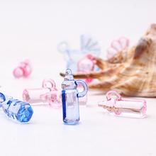 30 sztuk różowy niebieski Mini plastikowa butelka do karmienia Baby Shower Favor Filler przedszkole chrzciny Party Favor do dekoracji tortu dekoracje tanie tanio NONE Feeding bottle Akrylowe Chrzest chrzciny Birthday party Dzień dziecka