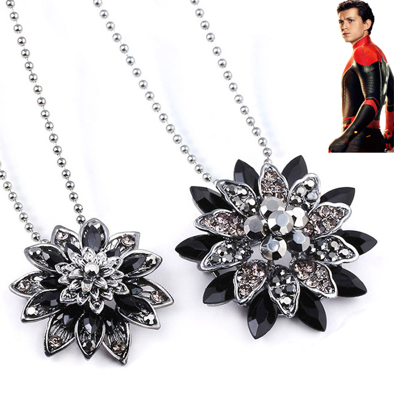 Spiderman Black Dahlia Necklace Cosplay Props Vintage Pendant Halloween Spider-Man: Far From Home Women Brooch Pins