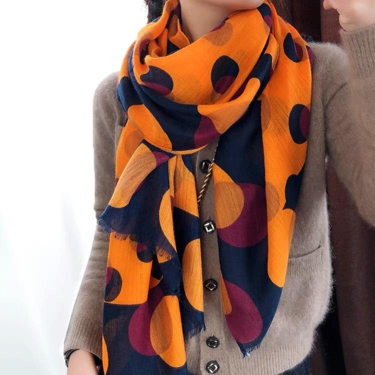 Scarf Women's Spring Autumn Fashion Silk Scarf Long Style Versatile Cotton Hemp Handle Long Cape Dual Purpose Luxury Scarf