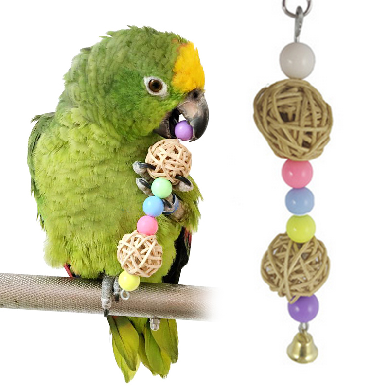 Bird Toy Pet Parrot Loofah Sponge Vine Rope Ladder Parakeet Chewing Bite Hanging Cage Swing Climb Chew Standing Training Toys