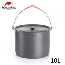 Naturehike 6l/10l grande capacidade de acampamento panelas ultraleve pendurado pote piquenique liga de alumínio pote 6-8 pers panelas ao ar livre
