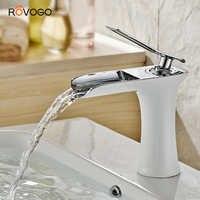 ROVOGO Single Handle Bathroom Vanity Sink Faucet Waterfall Deck Mount, White Lavatory Washbasin Taps Cold Hot Mixer Crane Brass