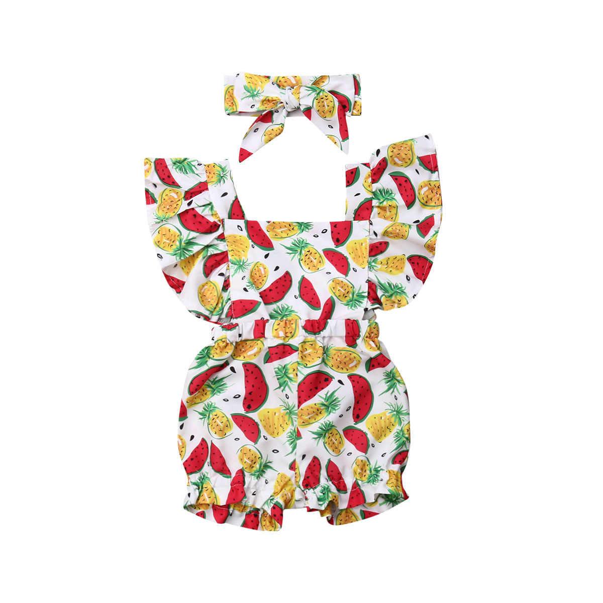 Ropa para bebés recién nacidos ropa de verano con volantes manga Floral mameluco mono + diadema 2 piezas trajes ropa de traje de sol
