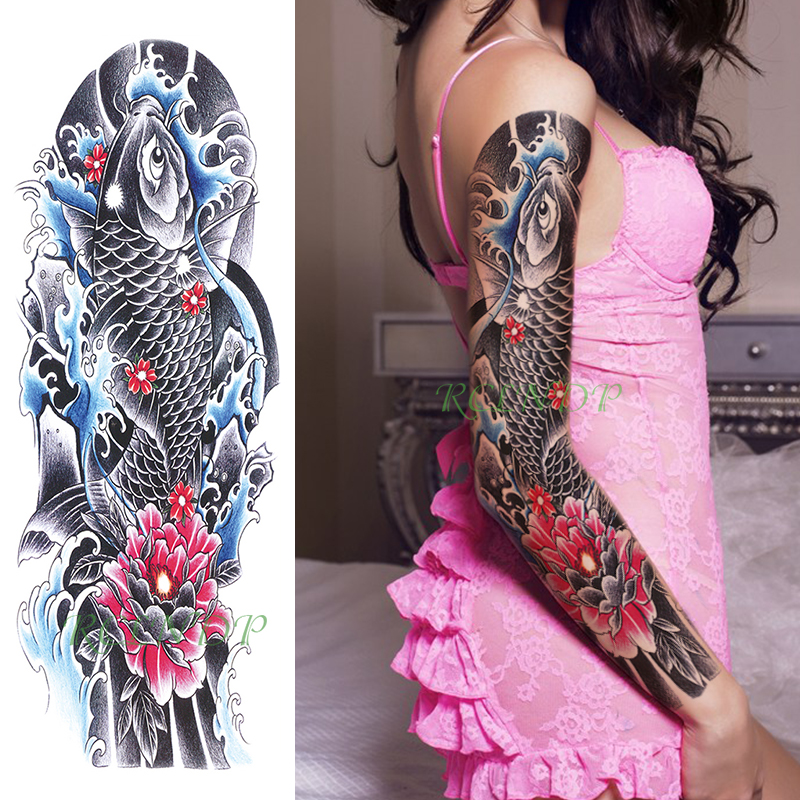 Waterproof Temporary Tattoo Sticker Carp Fish Japanese Style Water Flower Full Arm Fake Tatto Flash Sleeve Tatoo For Men Women