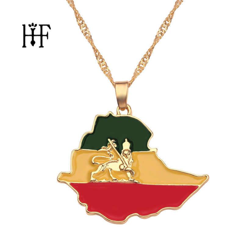 Ethiopian Flag & Lion แผนที่จี้สร้อยคอผู้หญิง/ผู้ชายเครื่องประดับ Gold สีแอฟริกาถนนเอธิโอเปีย Lion สร้อยคอ Bijoux Femme