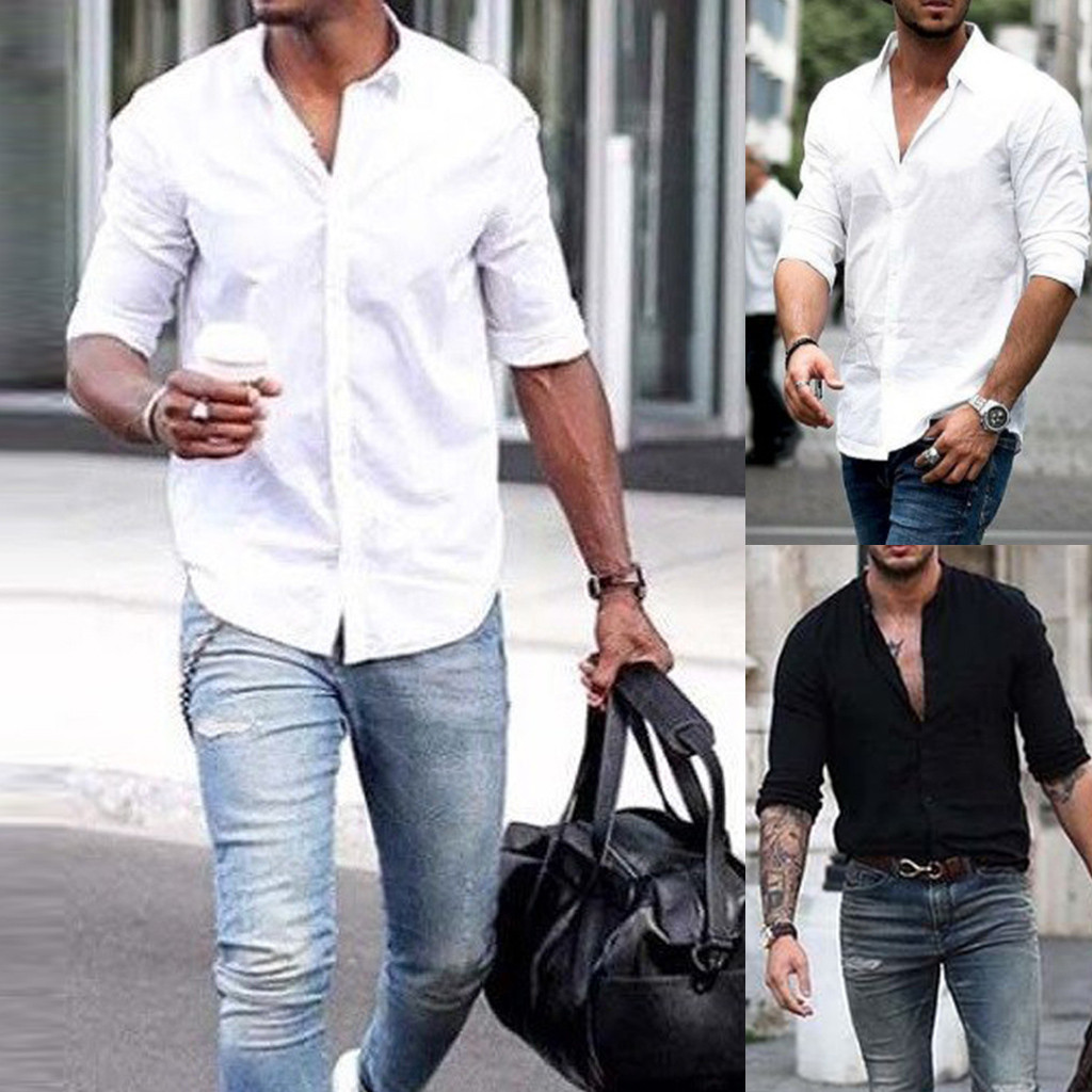 Hawcoar Men's New Fashion Long Sleeve Solid Color Lapel Business Or Casual Shirt Tops Blouse Wholesale Free Ship Z4
