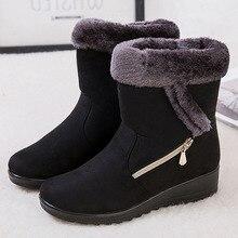 2019 nuevos zapatos de Invierno para mujer botas de nieve antideslizantes de fondo botas de piel de invierno de felpa en el interior de la pantorrilla botas más tamaño