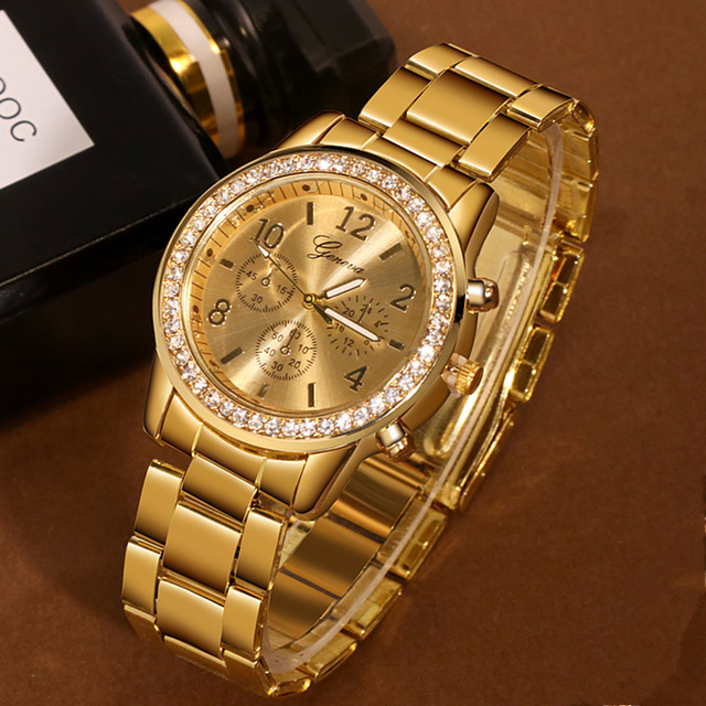 New Watch Women Classic Geneva Luxury Ladies Watches Womens Full Steel Crystal Relogio Feminino Reloj Mujer Metal Wristwatch 2
